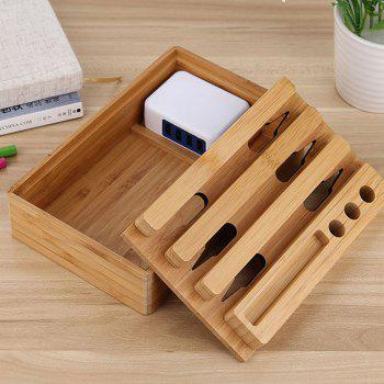 Zuoqi USB Chargeur 4 USB Adaptateur Bamboo Titulaire Dock Station De Charge - Bois
