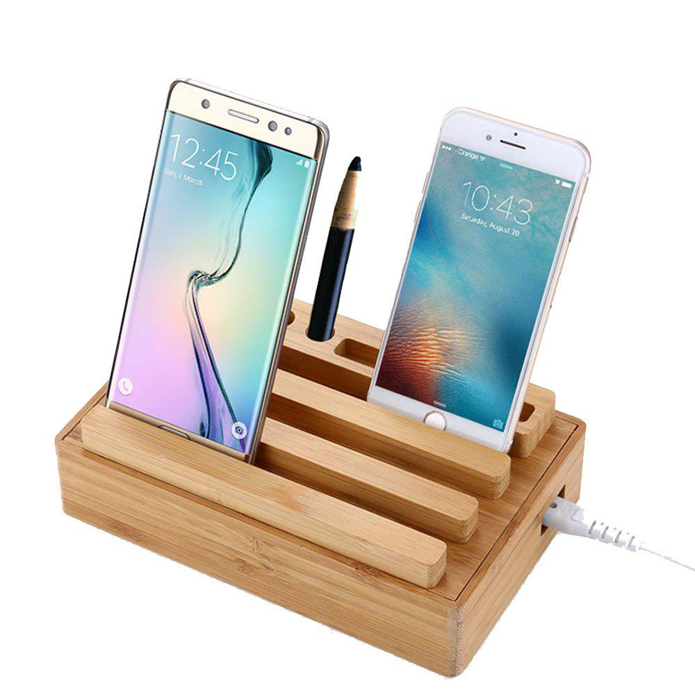 Zuoqi USB Charger 4 USb Adaptor Bamboo Holder Dock Charging Station - WOOD