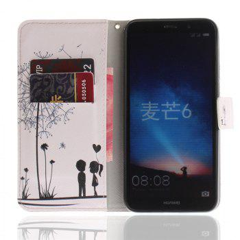 Cover Case for Mate 10 Lite / Maimang 6 PU+TPU Dandelion Leather with Stand and Card Slots Magnetic Closure - WHITE