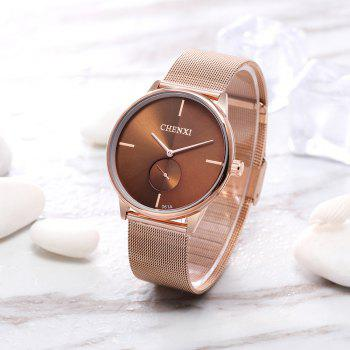 Chenxi 061A  Mesh Belt Ultra-Thin Couples Quartz Watch - BROWN