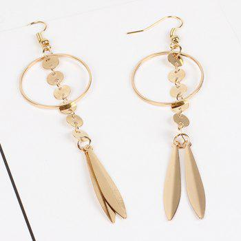 Original Leaves Minimalist Geometric Studs Large Circle Chain Tassel Earrings Jewelry Accessories B Paragraph - GOLDEN