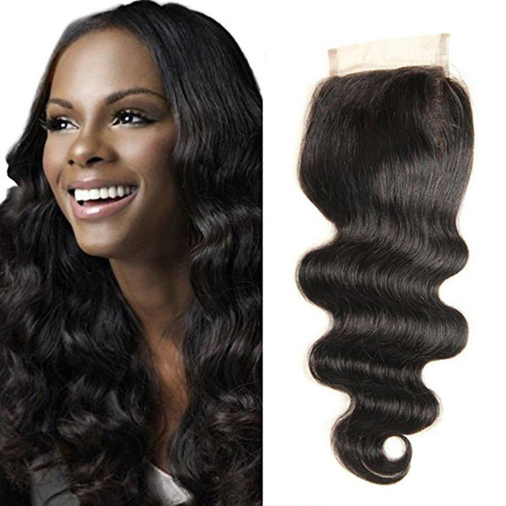 4 x 4 Free Part Brazilian Body Wave Lace Top Closure Unprocessed Human Hair Bleached Knots 12 inch - BLACK 12INCH