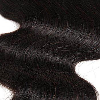 4 x 4 Free Part Brazilian Body Wave Lace Top Closure Unprocessed Human Hair Bleached Knots 14 inch - BLACK 14INCH