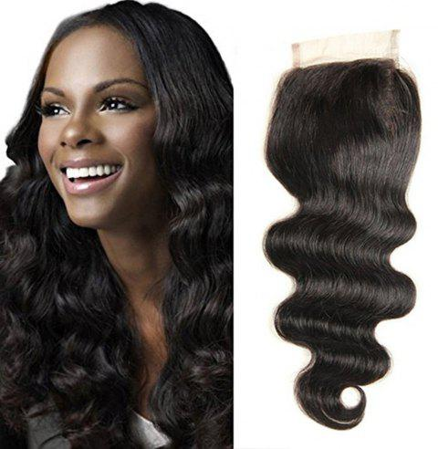 4 x 4 Free Part Brazilian Body Wave Lace Top Closure Unprocessed Human Hair Bleached Knots 18 inch - BLACK 18INCH
