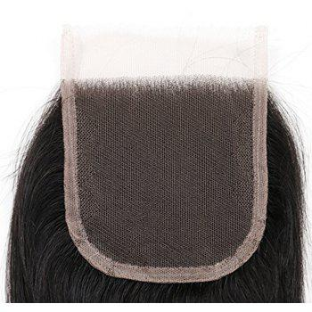 4 x 4 Free Part Brazilian Straight Lace Top Closure Unprocessed Human Hair Bleached Knots 16 inch - BLACK 16INCH