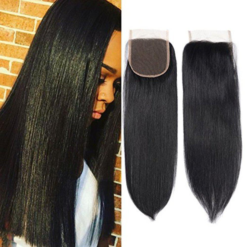 4 x 4 Free Part Brazilian Straight Lace Top Closure Unprocessed Human Hair Bleached Knots 18 inch - BLACK 18INCH