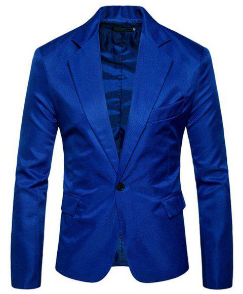 Men Spring Turndown Collar Long Sleeve Suit - BLUE 2XL