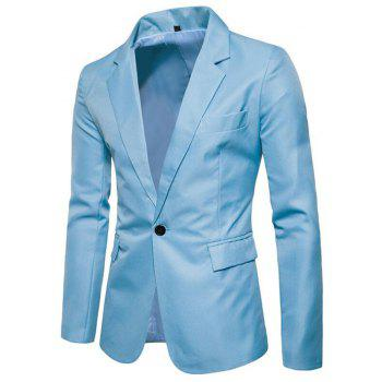 Men Spring Turndown Collar Long Sleeve Suit - LIGHT BULE XL