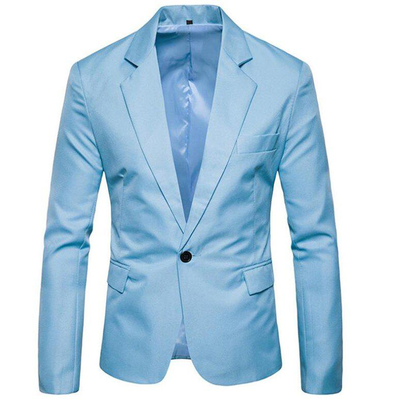 Men Spring Turndown Collar Long Sleeve Suit - LIGHT BULE L