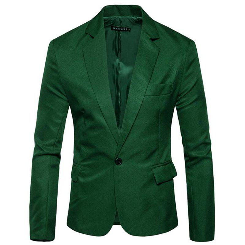 Men Spring Turndown Collar Long Sleeve Suit - GREEN 3XL