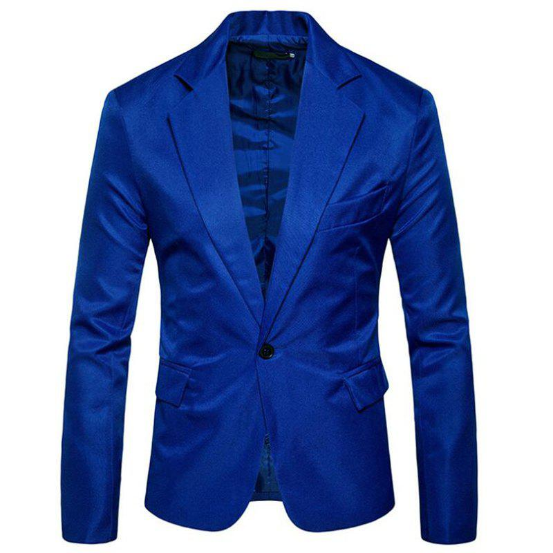 Men Spring Turndown Collar Long Sleeve Suit - BLUE L
