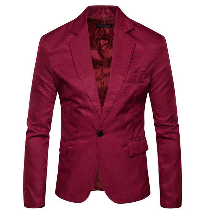 Men Spring Turndown Collar Long Sleeve Suit - WINE RED M