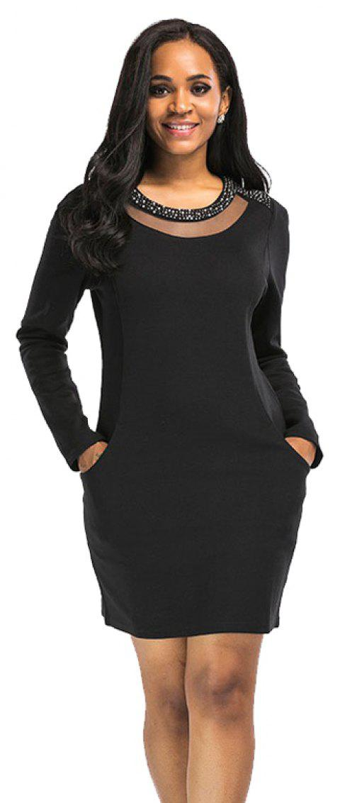 Women's Round Neckline Splice Long Sleeve Black Dress - BLACK 4XL