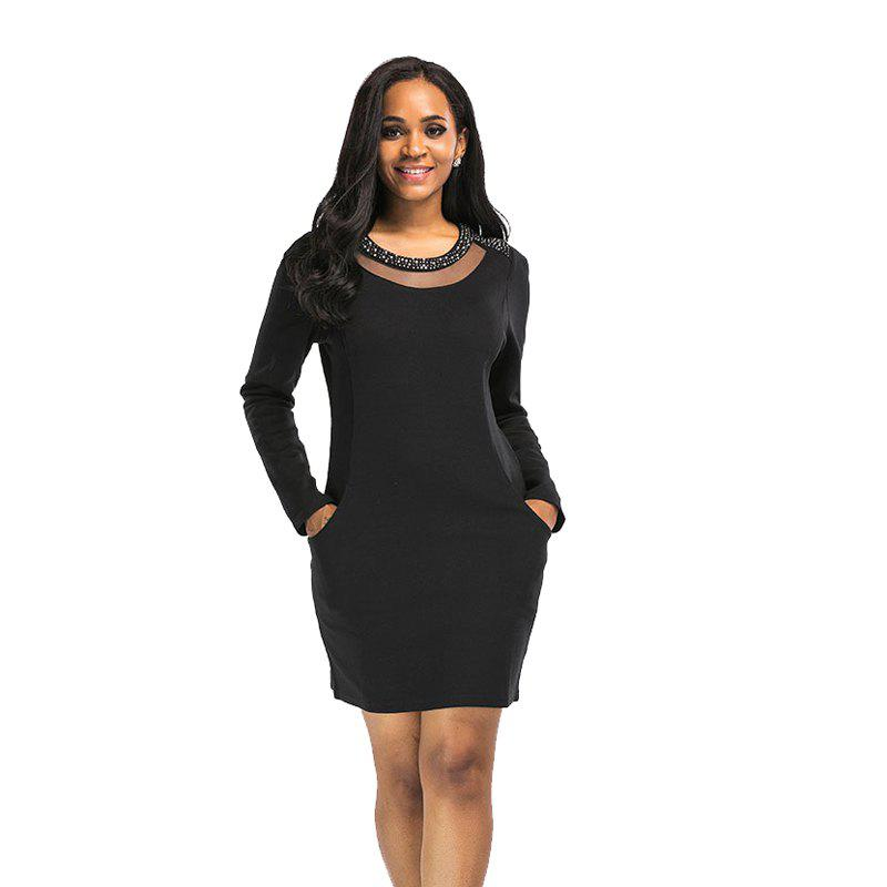 Women's Round Neckline Splice Long Sleeve Black Dress - BLACK 2XL