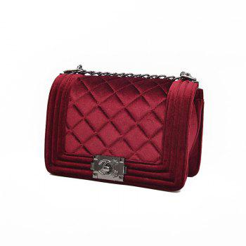 Fashion Rhombic Plaid Velvet Shoulder Messenger Bag - WINE RED