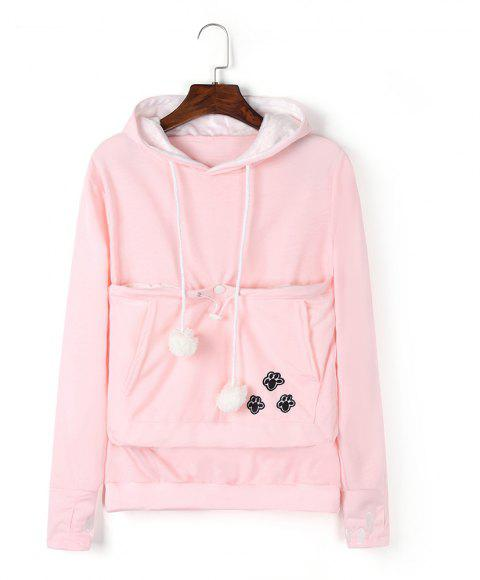 Women Stylish Hoodie with Big Kangaroo Pocket - PINK 2XL