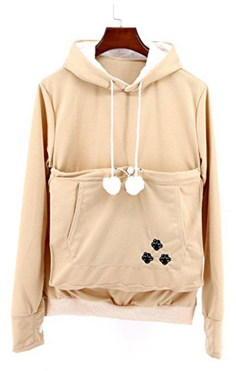 Women Stylish Hoodie with Big Kangaroo Pocket - KHAKI 2XL