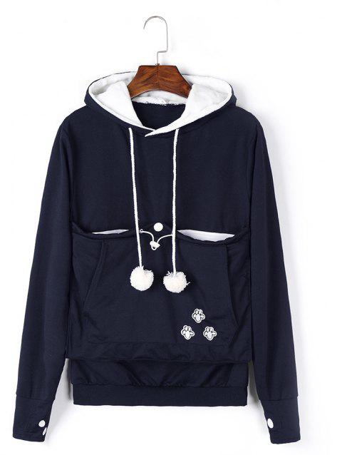 Women Stylish Hoodie with Big Kangaroo Pocket - CADETBLUE S