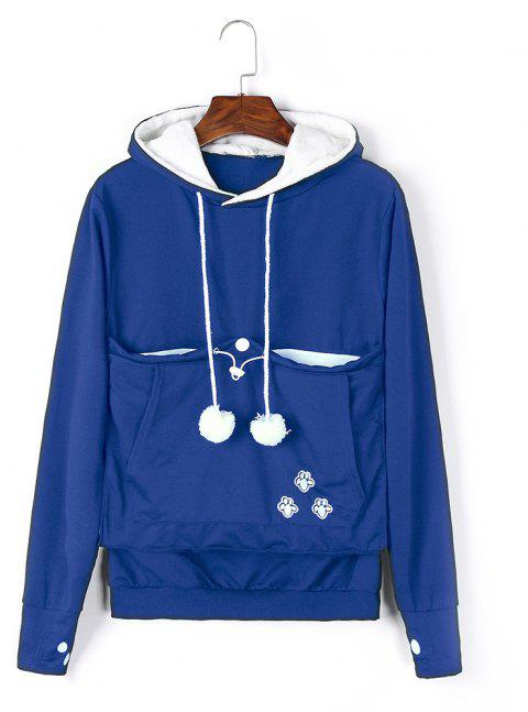 Women Stylish Hoodie with Big Kangaroo Pocket - ROYAL BLUE L