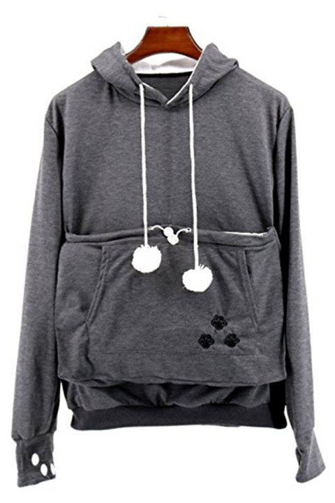 Women Stylish Hoodie with Big Kangaroo Pocket - DARK GRAY 4XL