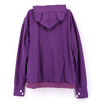 Women Stylish Hoodie with Big Kangaroo Pocket - PURPLE M