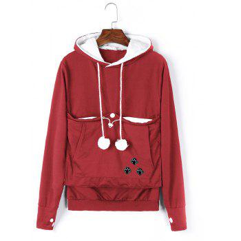 Women Stylish Hoodie with Big Kangaroo Pocket - RED 4XL