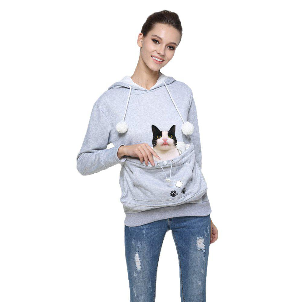 Women Stylish Hoodie with Big Kangaroo Pocket - GRAY S