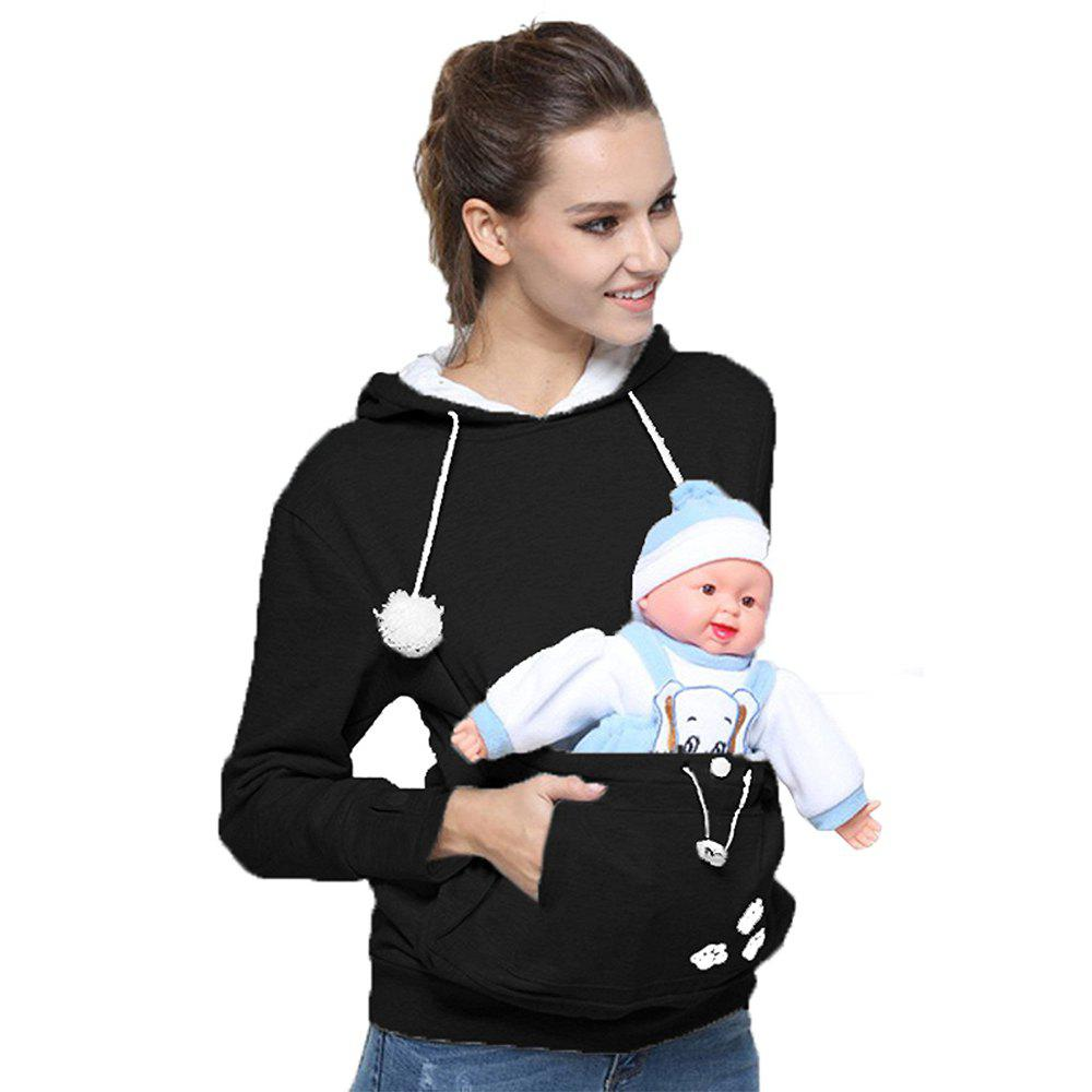 Women Stylish Hoodie with Big Kangaroo Pocket - BLACK L