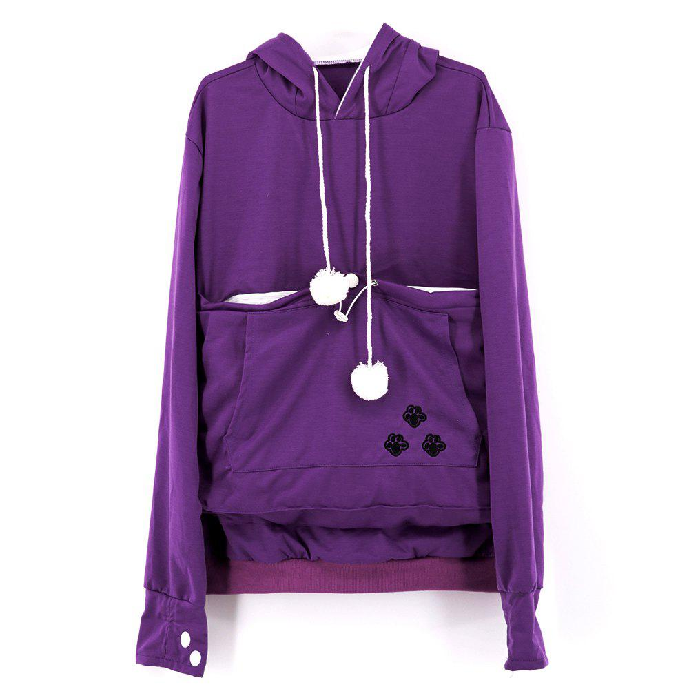 Women Stylish Hoodie with Big Kangaroo Pocket - PURPLE S