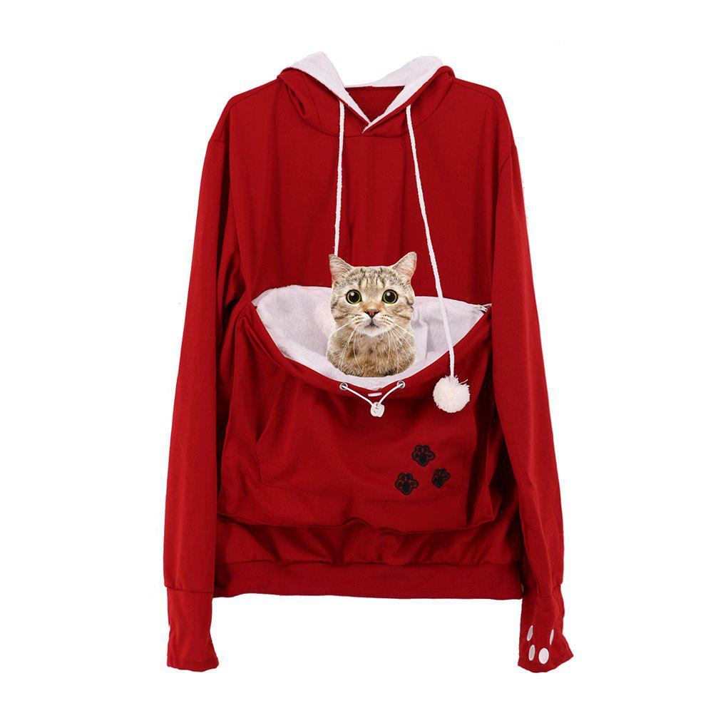 Women Stylish Hoodie with Big Kangaroo Pocket - RED S