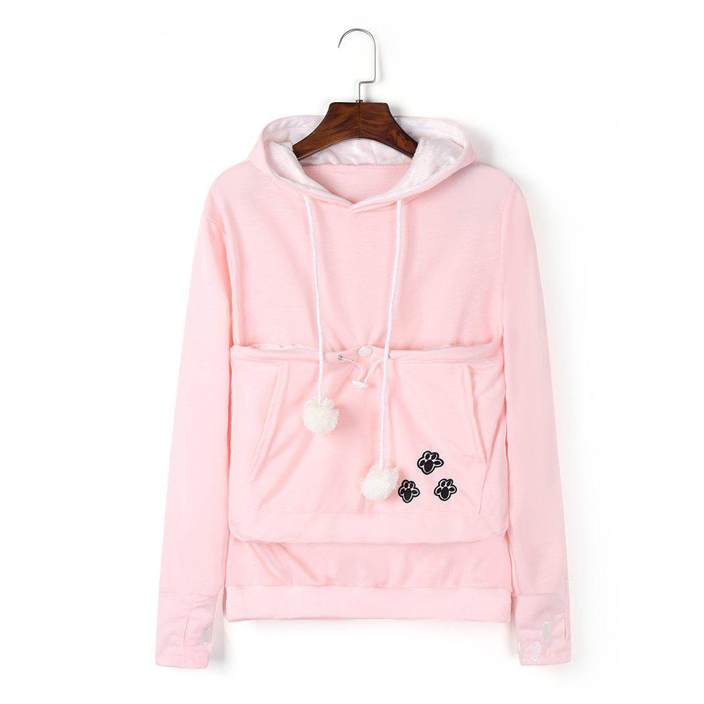 Women Stylish Hoodie with Big Kangaroo Pocket - PINK 4XL