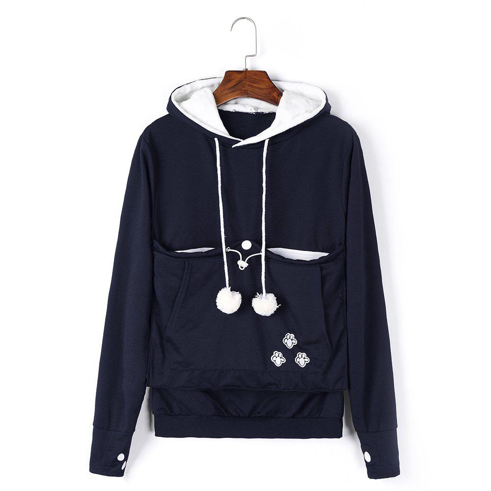 Women Stylish Hoodie with Big Kangaroo Pocket - CADETBLUE XL
