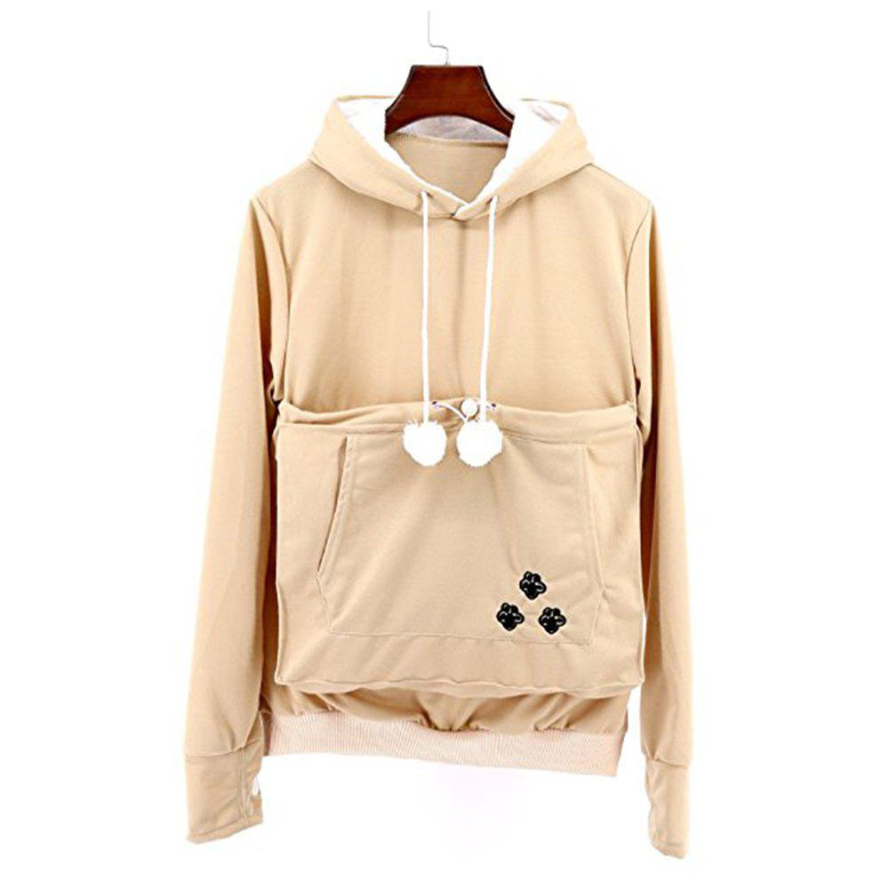 Women Stylish Hoodie with Big Kangaroo Pocket - KHAKI L
