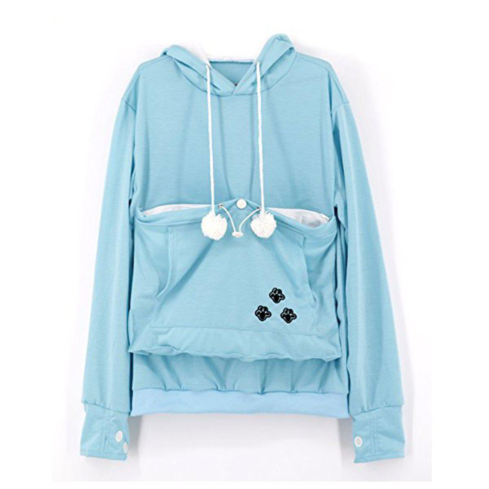 Women Stylish Hoodie with Big Kangaroo Pocket - LIGHT BLUE 2XL