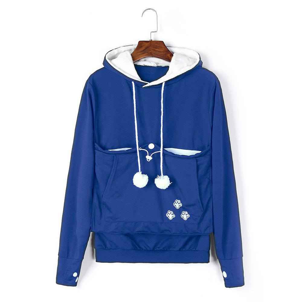 Women Stylish Hoodie with Big Kangaroo Pocket - ROYAL BLUE 2XL