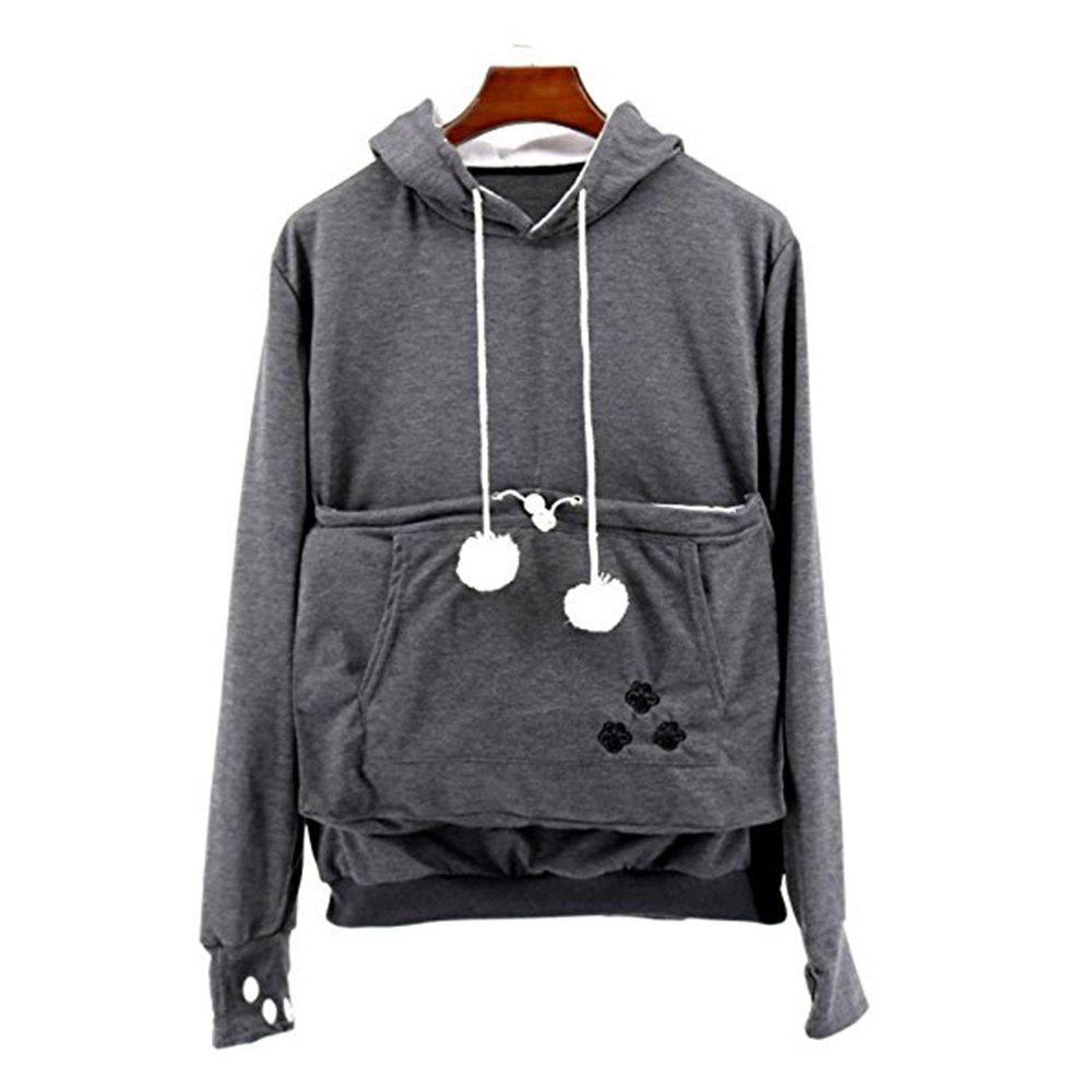 Women Stylish Hoodie with Big Kangaroo Pocket - DARK GRAY L