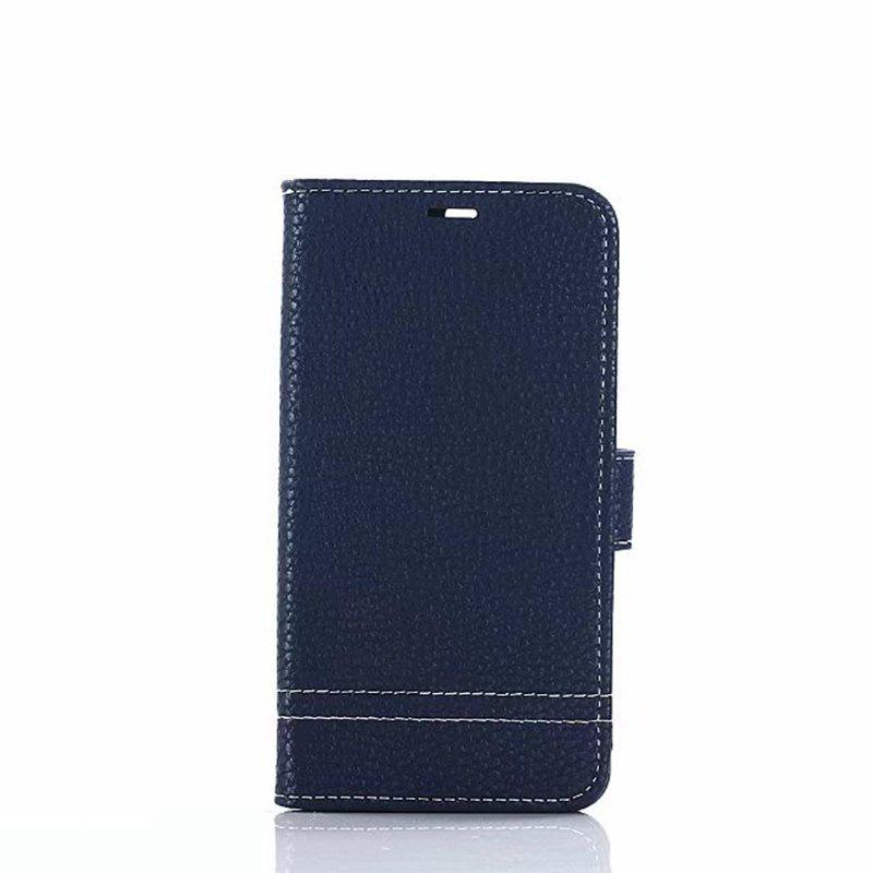 Cover Case for Huawei Honor 8 Lychee Striped Back Button Leather - BLUE