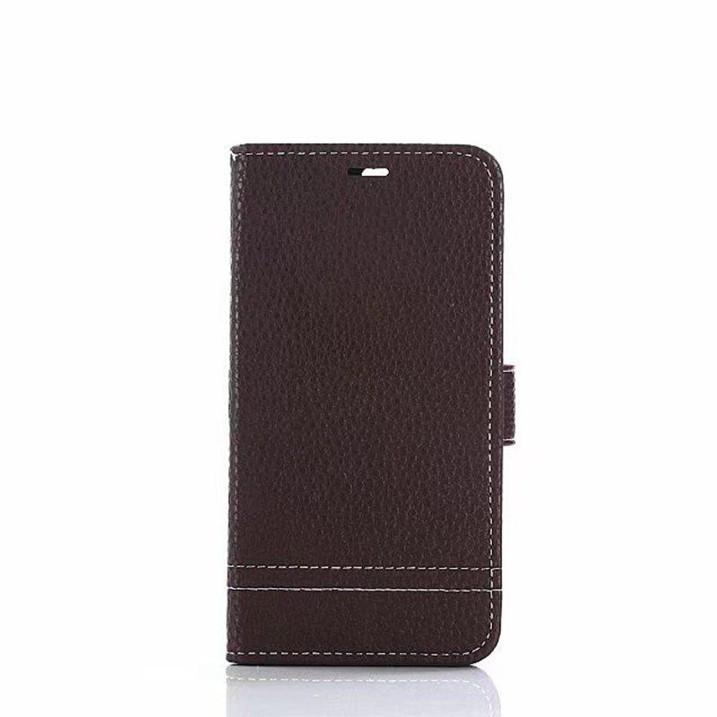 Cover Case for Huawei Honor 8 Lychee Striped Back Button Leather - DEEP BROWN