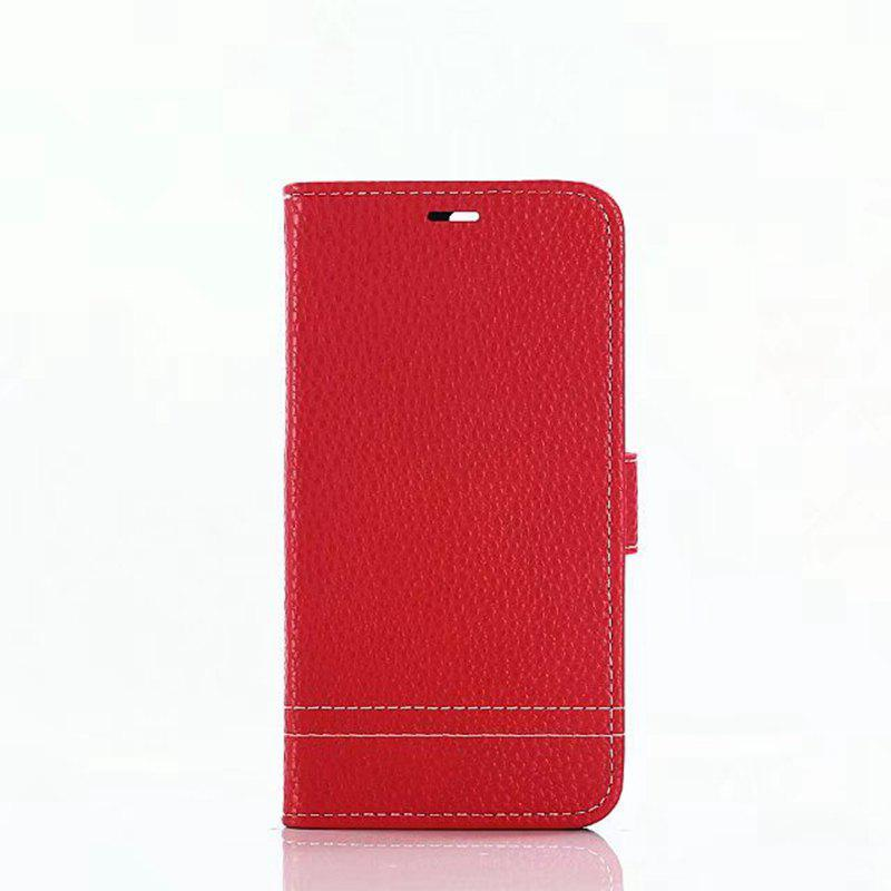 Cover Case for Huawei Honor 8 Lychee Striped Back Button Leather - RED