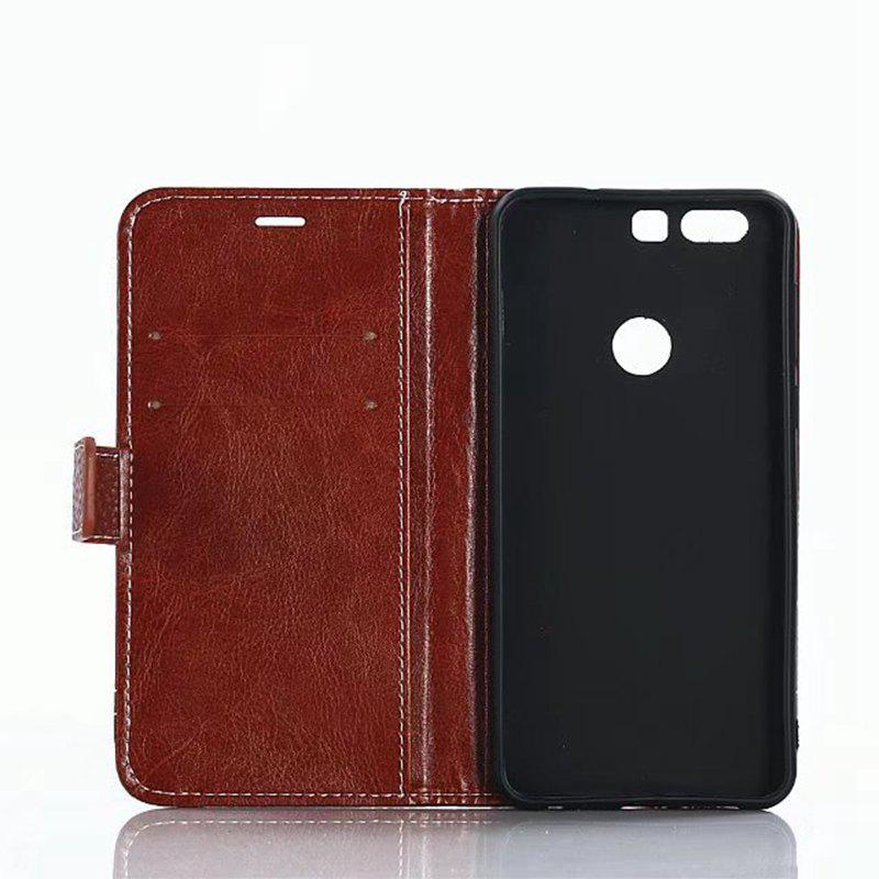 Cover Case for Huawei Honor 8 Lychee Striped Back Button Leather - LIGHT BROWN