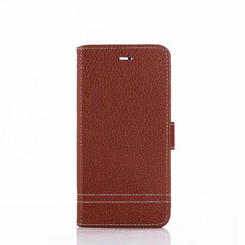 Cover Case for Huawei Honor 9 Lychee Striped Back Button Leather - LIGHT BROWN