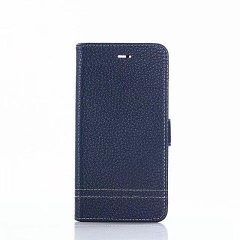 Cover Case for Huawei Honor 9 Lychee Striped Back Button Leather - BLUE