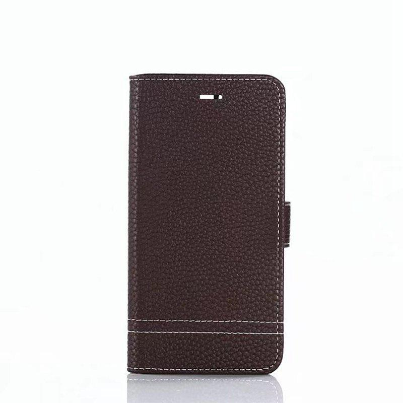 Cover Case for Huawei Honor 9 Lychee Striped Back Button Leather - DEEP BROWN