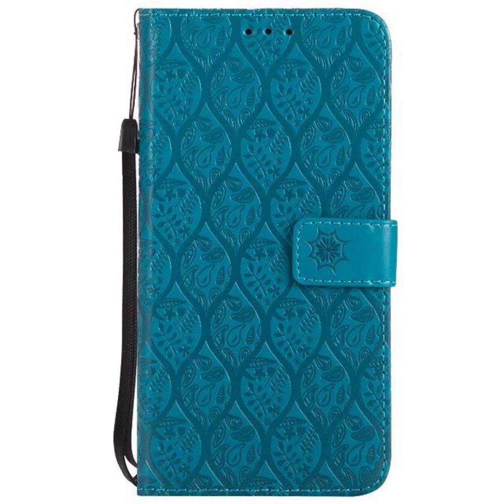 Cover Case for LG V20 Embossed Rattan Pattern PU Leather Wallet Case - BLUE