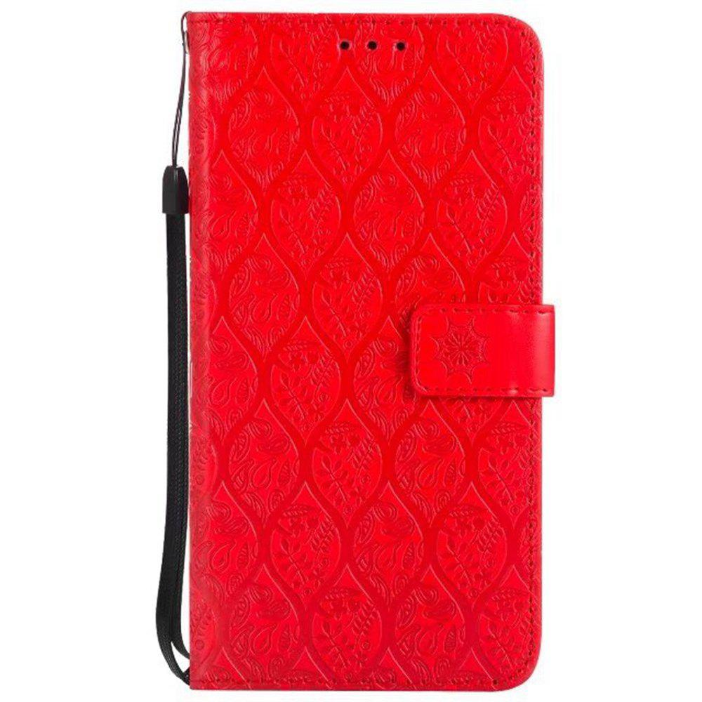 Cover Case for LG V20 Embossed Rattan Pattern PU Leather Wallet Case - RED