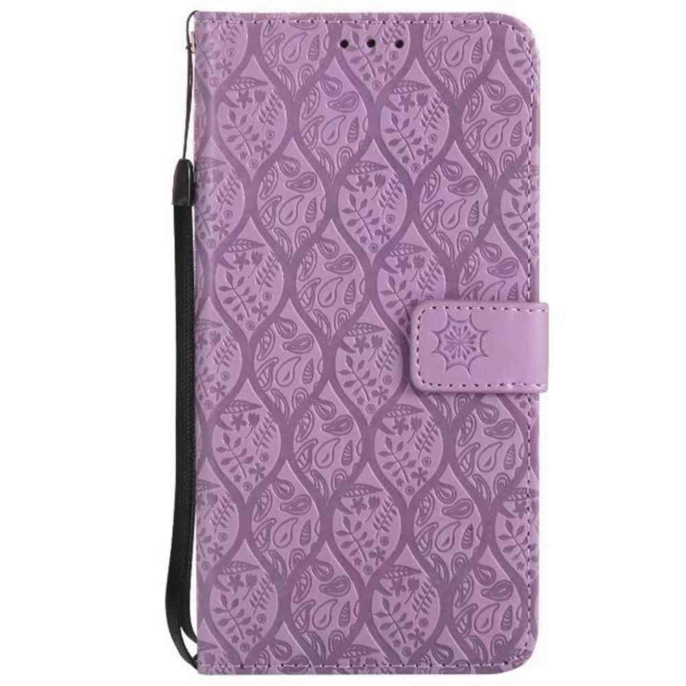 Cover Case for LG V20 Embossed Rattan Pattern PU Leather Wallet Case - PURPLE
