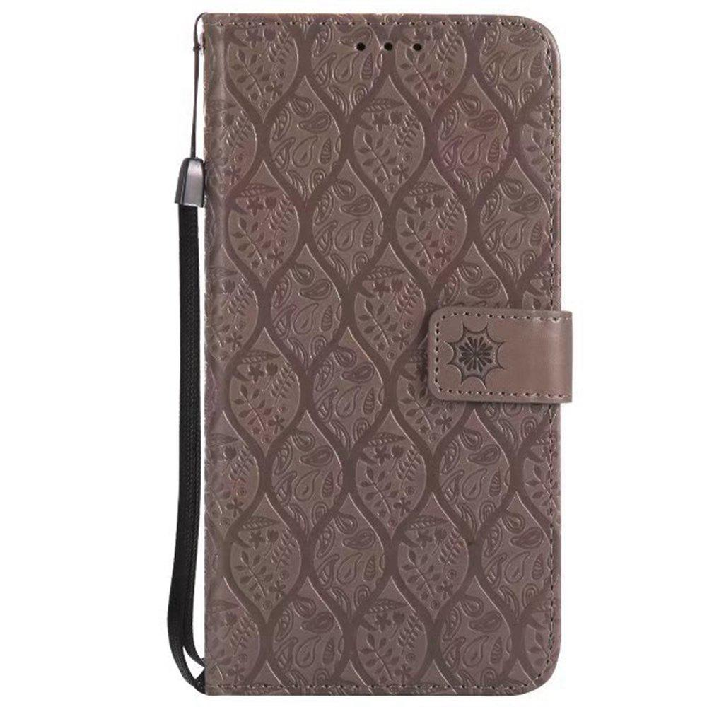 Cover Case for LG V20 Embossed Rattan Pattern PU Leather Wallet Case - GRAY