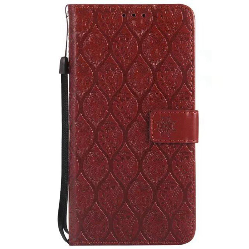 Cover Case for LG V20 Embossed Rattan Pattern PU Leather Wallet Case - BROWN