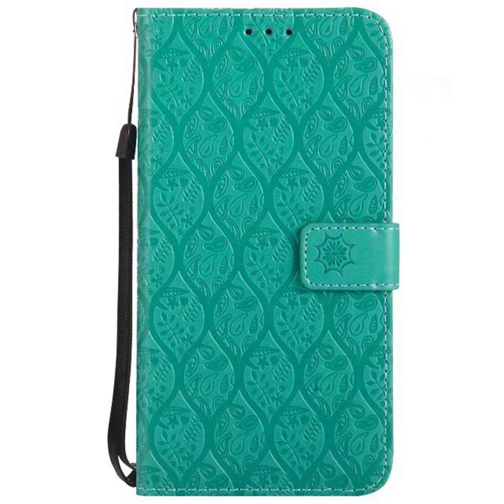 Cover Case for LG V20 Embossed Rattan Pattern PU Leather Wallet Case - GREEN