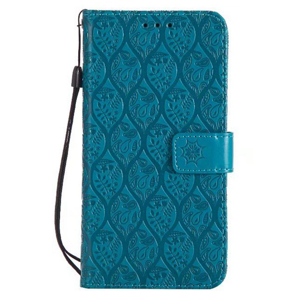 Cover Case for Motorola Moto G5 Plus Embossed Rattan Pattern PU Leather Wallet Case - BLUE